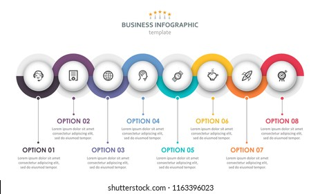 Vector Infographic label design with circles and 8 options or steps. Infographics for business concept. Can be used for presentations banner, workflow layout, process diagram, flow chart, info graph