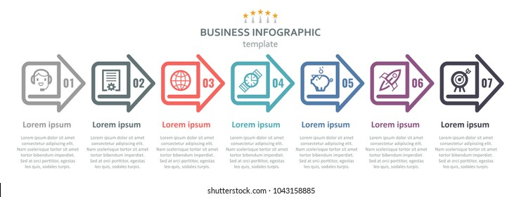 Vector Infographic label design with icons and 7 options or steps. Infographics for business concept. Can be used for presentations banner, workflow layout, process diagram, flow chart, info graph