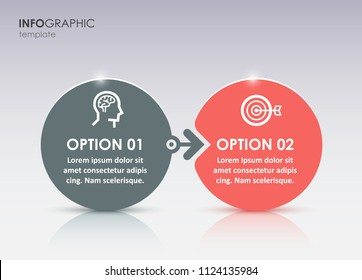 Vector Infographic label design with icons and 2 options or steps. Infographics for business concept. Can be used for presentations banner, workflow layout, process diagram, flow chart, info graph