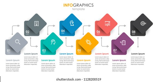 Vector Infographic label design with icons and 8 options or steps. Infographics for business concept. Can be used for presentations banner, workflow layout, process diagram, flow chart, info graph