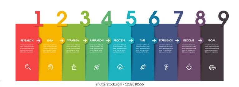 Vector Infographic label design with icons and 9 options or steps. Infographics for business concept. Can be used for presentations banner, workflow layout, process diagram, flow chart, info graph