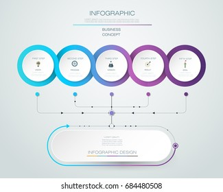 Vector Infographic label design with icons and 5 options or steps. Infographics for business concept. Can be used for presentations banner, workflow layout, process diagram, flow chart, info graph