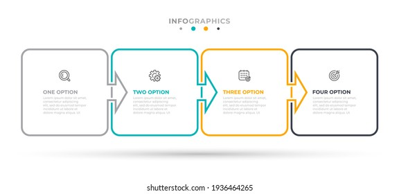 Vector infographic label design with square and arrows. Business concept with 4 options or steps. Can be used for workflow diagram, info chart, web design.