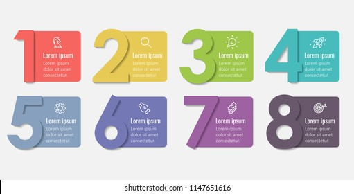 Vector Infographic label design template with icons and 8 options or steps.  Can be used for process diagram, presentations, workflow layout, banner, flow chart, info graph.