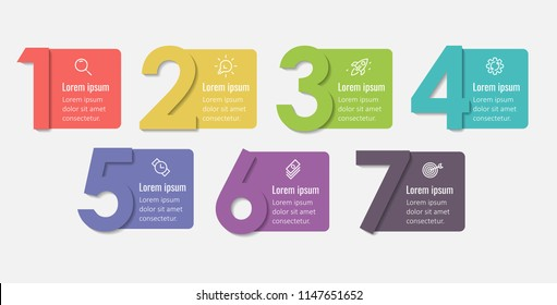 Vector Infographic label design template with icons and 7 options or steps.  Can be used for process diagram, presentations, workflow layout, banner, flow chart, info graph.