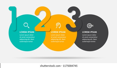 Vector Infographic label design template with icons and 3 options or steps.  Can be used for process diagram, presentations, workflow layout, banner, flow chart, info graph.