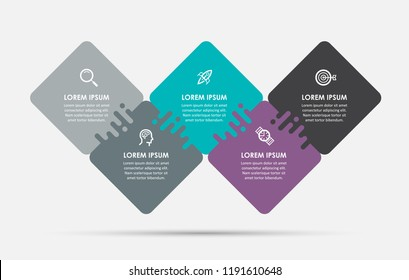 Vector Infographic label design template with rhombus and 5 options or steps.  Can be used for process diagram, presentations, workflow layout, banner, flow chart, info graph.