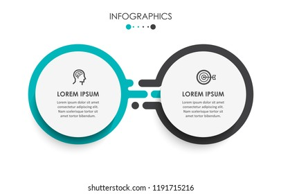 Vector Infographic label design template with icons and 2 options or steps.  Can be used for process diagram, presentations, workflow layout, banner, flow chart, info graph.