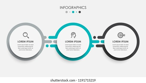 Vector Infographic label design template with icons and 3 options or steps.  Can be used for process diagram, presentations, workflow layout, banner, flow chart, info graph. - Shutterstock ID 1191715219