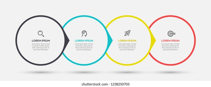 Vector Infographic label design template with icons and 4 options or steps.  Can be used for process diagram, presentations, workflow layout, banner, flow chart, info graph.