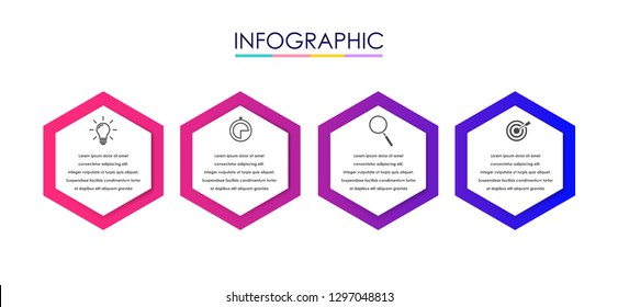 Vector Infographic label design template with icons and 4 options or steps. Can be used for process diagram, presentations, workflow layout, banner, flow chart, info graph. - Vector