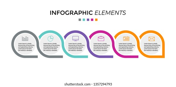 Vector Infographic label design template with icons and 6 options or steps. Can be used for process diagram, presentations, workflow layout, banner, flow chart, info graph - Vector