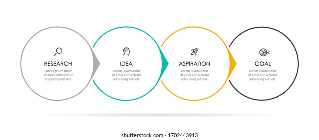 Vector Infographic label design template with icons and 4 options or steps.  Can be used for process diagram, presentations, workflow layout, banner, flow chart, info graph