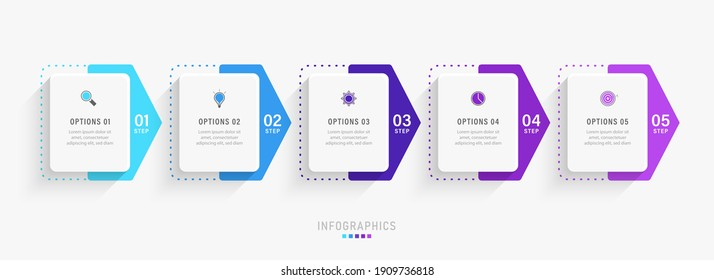 Vector Infographic label design template with icons and 5 options or steps. Can be used for process diagram, presentations, workflow layout, banner, flow chart, info graph.