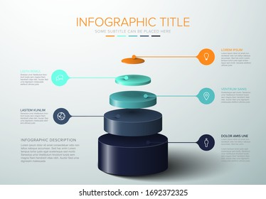 Vector Infographic layers template with five circle levels for material structure - blue green pyramid template on light background