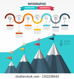 Vector Infographic Layout with Flags on Mountains and Icons