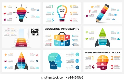 Vector infographic, light bulb idea, education diagram, knowledge chart, startup rocket, travel bag, human head brain, learn study graph presentation, stairs open door. 3, 4, 5, 6 option, parts, steps