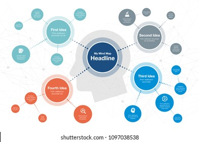Vector infographic for mind map visualization template with colorful circles and several icons, isolated on light background. Easy to use for your website or presentation.