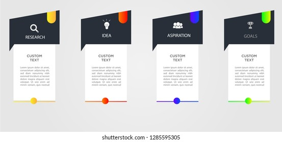 Vector Infographic modern design with icons and 4 options or steps, Can be used for workflow layout, diagram, business step options, banner, web design. Vector illustration