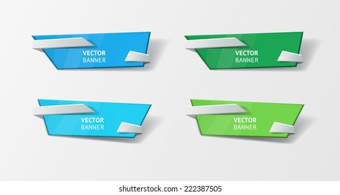 Vector infographic origami banners set. Bright colors. Abstract background