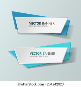 Vector infographic origami banners set. Pastel colors
