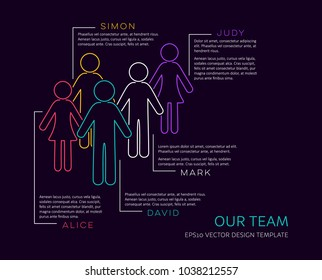 Vector infographic our team company introduction outline design