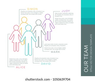 Vector infographic our team company outline design template