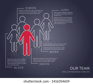Vector infographic our team company presentation modern template