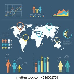 Vector infographic with people icons and charts. Word map with information infographic, illustration map with infochart
