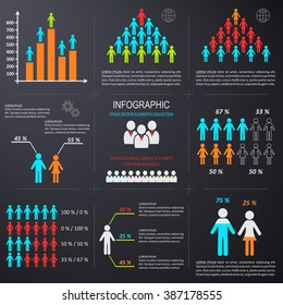 Vector infographic people icons graphs charts demographic collection