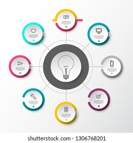 Vector Infographic Presentation Concept with Paper Cut Circles and Light Bulb in the Middle. Data Flow Chart. Web Page Layout with Technology Icons. Eight Steps Infographics.