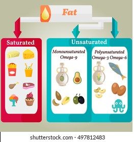 Vector Infographic:  Proper nutrition  Fat Saturated Unsaturated