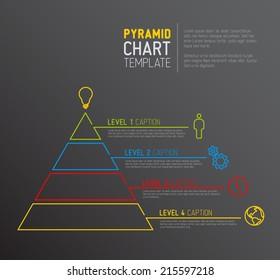 Vector Infographic Pyramid chart diagram template - dark version