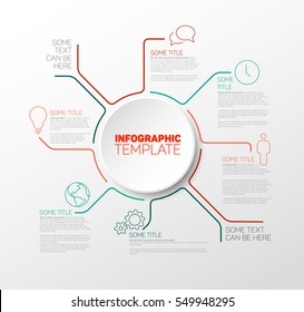 Vector Infographic report template made from red and teal lines with big circle and icons