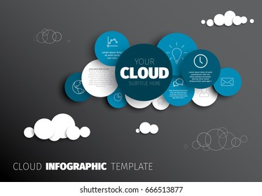 Vector Infographic report template made from circles and icons cloud shape - dark version