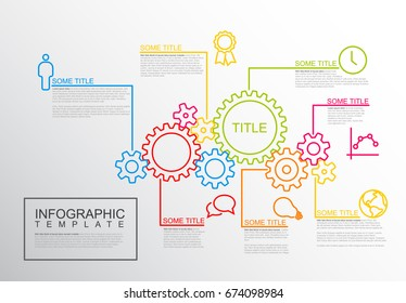 Vector Infographic report template made from lines and icons with gear wheels