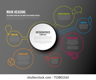 Vector Infographic report template with thin line circles and colorful icons - dark version