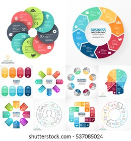 Vector infographic set. Business diagrams, arrows graphs, startup presentations, idea charts. Infographics with 8 part, step, process. Info graphic with human head, medicine health plus symbol, labels