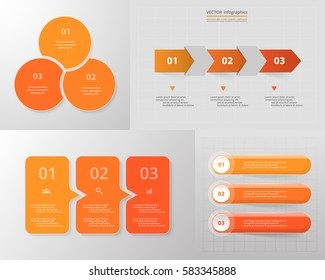 Vector infographic set. Business diagrams, round and arrows graphs, presentations and charts. Data infographics with 3 options, parts, steps, cycle processes.