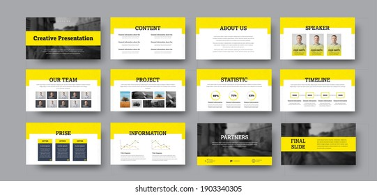 Vector infographic slide presentation with yellow elements, for statistics, data analytics and business information. Cover for banner with concept and annual report, corporate identity