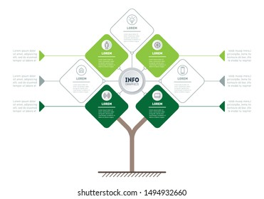 Vector infographic of technology or education process with 4 or 7 points. Template of tree, info chart or diagram. Eco Business presentation concept with four options.