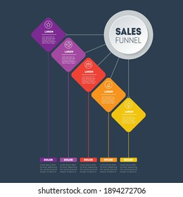 Vector infographic of technology or education process with five steps. Web Template of a sales pipeline, purchase funnel, sales funnel or info chart. Business presentation concept with 5 options.