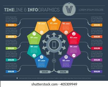 Vector infographic of technology or education process with 9 parts. Part of the report with logo and icons set. Business concept with nine options. Web Template of a chart, diagram or presentation.