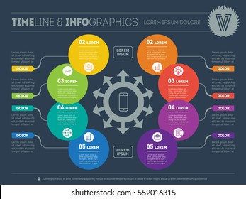 Vector infographic of technology or education process. Business concept with 8 options. Web Template of a circle infochart, diagram or presentation. Part of the report with logo and icons set