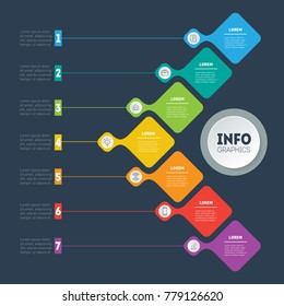 Vector infographic of technology or education process. Business concept with 7 options. Annual report. Web Template of a info chart, diagram or presentation. Part of the report with icons.