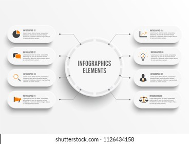 Vector infographic template with 3D paper label, integrated circles. Business concept with 8 options. For content, diagram, flowchart, steps, parts, timeline infographics, workflow, chart.