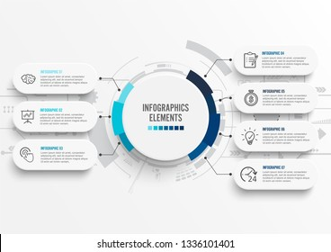 Vector infographic template with 3D paper label, integrated circles. Business concept with 7 options. For content, diagram, flowchart, steps, parts, timeline infographics, workflow, chart.