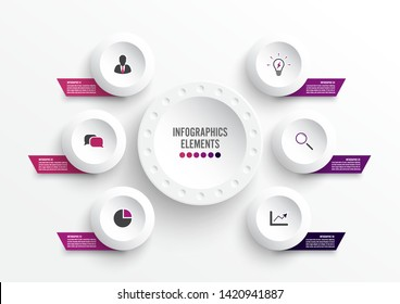 Vector infographic template with 3D paper label, integrated circles. Business concept with 6 options. For content, diagram, flowchart, steps, parts, timeline infographics, workflow, chart.