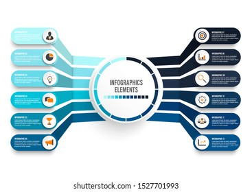 Vector infographic template with 3D paper label, integrated circles. Business concept with 12 options. For content, diagram, flowchart, steps, parts, timeline infographics, workflow, chart.