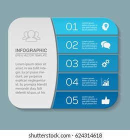 Vector infographic template, 5 options.